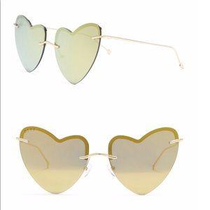 DIFF Eyewear Remy Heart Gold Sunglasses NIB